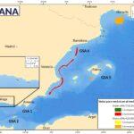 Mapa. Nuevas vedas permanentes/temporales para evitar capturas de juveniles de merluza incluidas en la nueva Orden APA/753/2020 (verde/rojo) y en la Orden APA/423/2020 enmendada (amarillo/naranja)